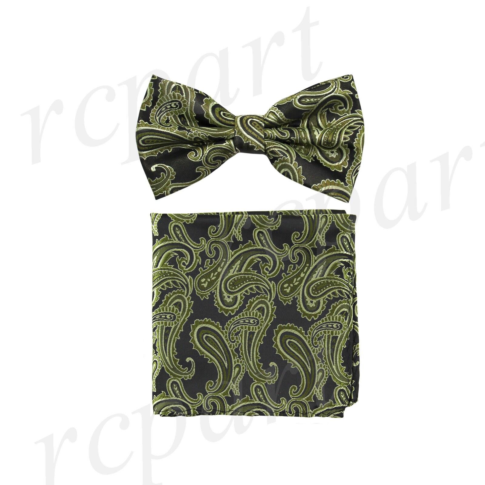 New formal Men/'s micro fiber Pre-tied Bow Tie /& Hankie Hankie red paisley