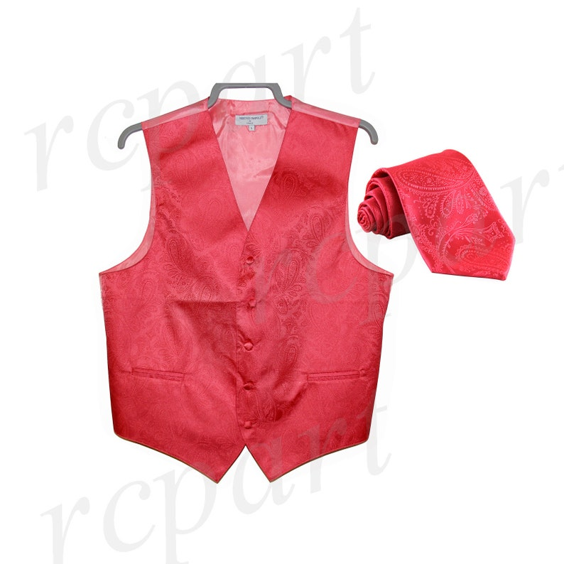 Men/'s Paisley Coral Polyester Tuxedo Vest with Self Tie Necktie for Formal Occasions