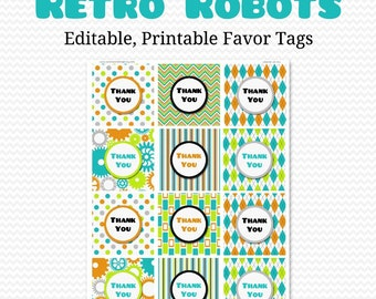 Boy Birthday Party Favor Tags Retro Robots Bag Label Goodie Tag Baby Shower Editable Printable Instant Download