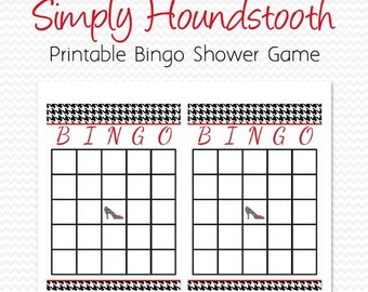 houndstooth bridal shower bingo cards shower game party supplies black and white red printable file instant download