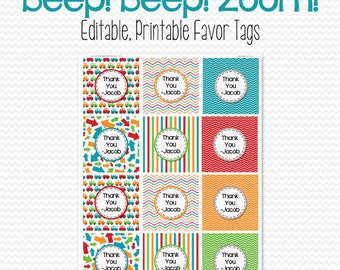Boy Birthday Party Favor Tags Car Theme Bag Label Goodie Tag Baby Shower Editable Printable Instant Download