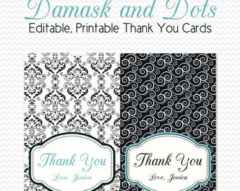 Thank You Card, Black and White Bridal Shower, Damask and Dots Party, Robin's Egg Blue, Wedding Note Card - Printable, Editable, Instant
