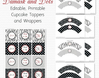 Damask and Dots Cupcake Toppers, Red, Cupcake Wrappers, Bridal Shower Decor, Wedding Decoration, Birthday Party - Editable Printable