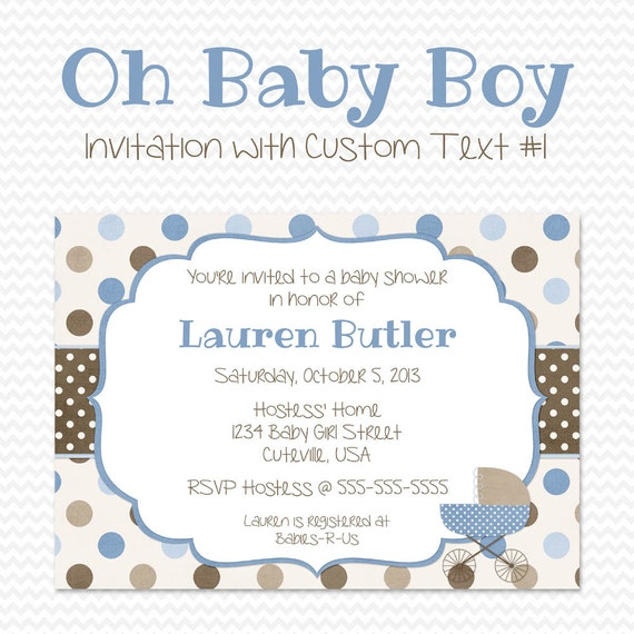 Blue And Brown Baby Shower Invitation Polka Dot Baby Carriage