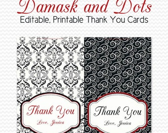 Thank You Cards, Black and White Bridal Shower, Damask and Dots Party, Red Accent, Personalized Note Cards -- Printable, Editable, Instant