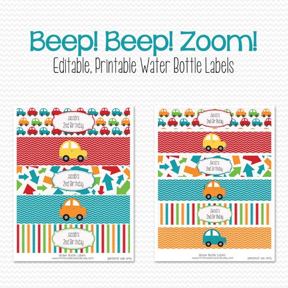 Water Bottle Labels with a Car Transportation Theme for a Transportation Themed Birthday Party
