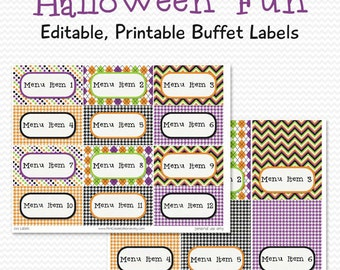 Buffet Labels, Place Cards, Halloween Candy Buffet, Party Supplies, Party Decor, Party Decoration -- Editable, Printable, Instant Download