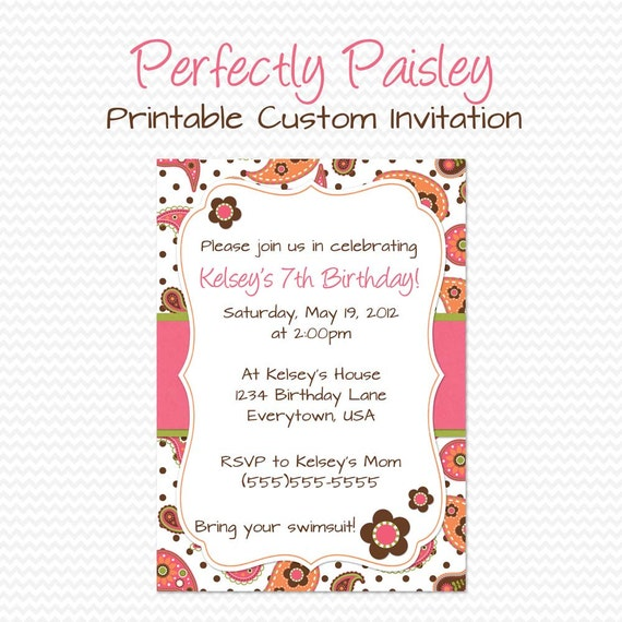 Girly Paisley Birthday Party Invitation Summer Bridal Shower Invite Baby Pink And Orange Flowers Printable File