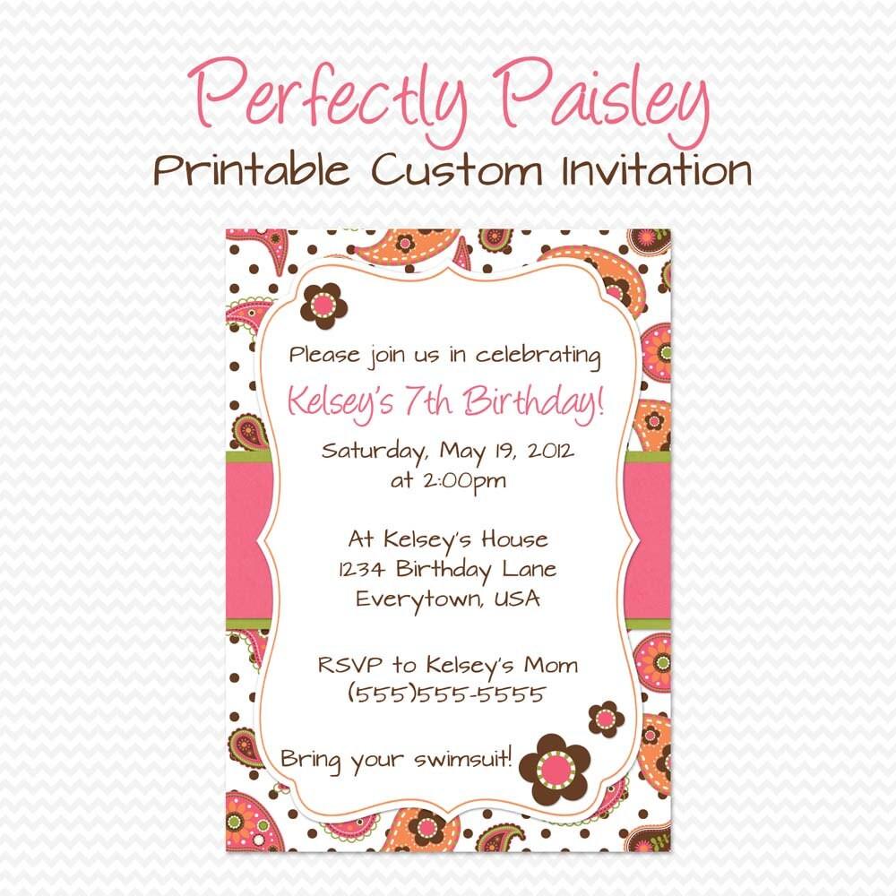 Girly Paisley Birthday Party Invitation Summer