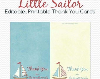 Thank You Cards, Thank You Note Card, Sailboat Birthday, Nautical Baby Shower, First Birthday  -- Editable, Printable, Instant Download