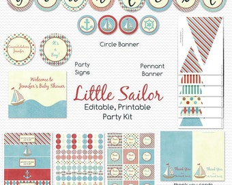 Nautical Baby Shower Printable Party Package, Little Sailor, Party Supplies -- Editable, Printable, Instant Download