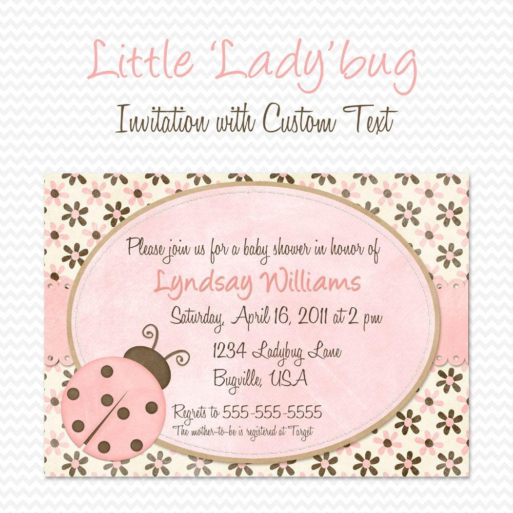 Rosa mariquita bebé ducha invitación invitación fiesta de | Etsy