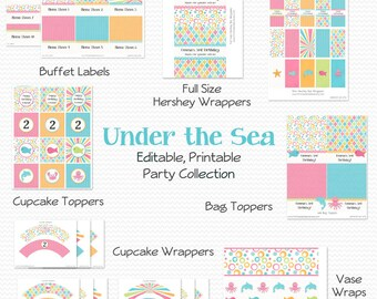 Under the Sea Birthday Party Printables, Girl's Birthday Party Supplies, Fish, Octopus, Swim, Summer - Editable, Printable, Instant Download