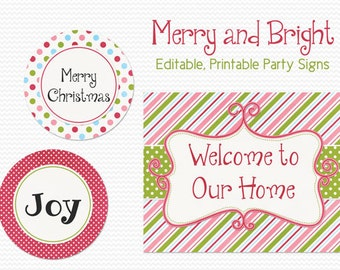 Christmas Party Decorations, Party Decor, Welcome Sign, Holiday Party Signs, Party Supplies -- Editable, Printable, Instant Download