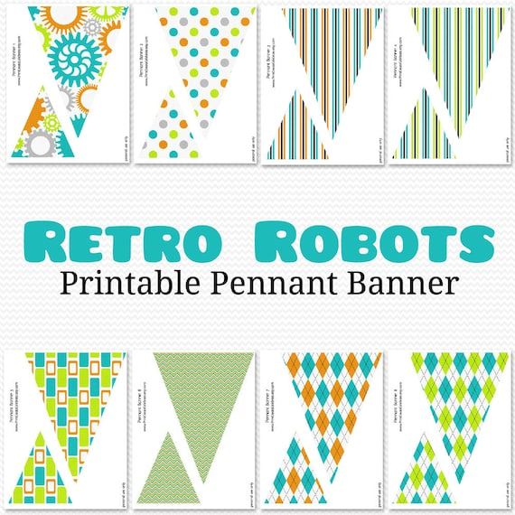 Robot Pennant Banner Bunting Birthday Party Decor Baby