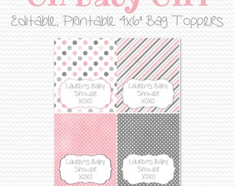 Baby Shower Favors, Treat Bag Toppers, Pink and Grey, Baby Girl Shower, Gray, Polka Dots  -- Editable, Printable, Instant Download