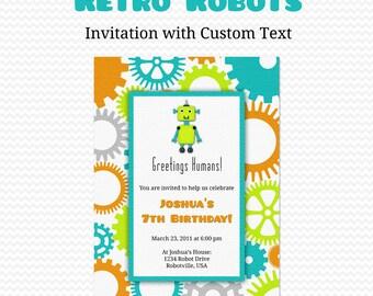 Retro Robots Birthday Party Invitation, Boy Baby Shower Invite -- Printable File