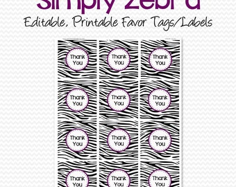 Favor Tags, Thank You Tags, Bridal Shower Favor Label, Birthday Party Favor, Graduation, Zebra Print, Purple - Editable, Printable
