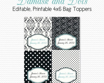 Damask and Dots Birthday Party Favors, Treat Bag Toppers, Bridal Shower Favors, Black and White, Robin's Egg Blue -- Editable, Printable