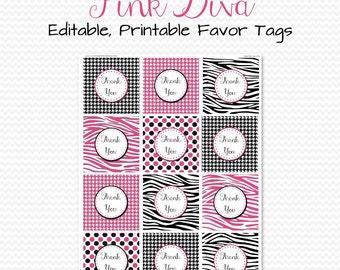 Pink Diva Party Favor Tags, Treat Bag Labels, Zebra Print Party Supplies, Bridal Shower -- Editable, Printable, Instant Download