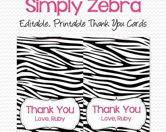 Thank You Cards, Thank You Notes, Zebra Print with Pink, Zebra Note Cards, Personalized Cards -- Editable, Printable, Instant Download