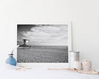 Newport Beach Lifeguard Tower - Black and White California Beach Home Decor- Framed Prints Available