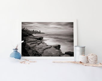 La Jolla Cliffs San Diego Art - California Black and White Beach Photography - Oversized Art Prints Available
