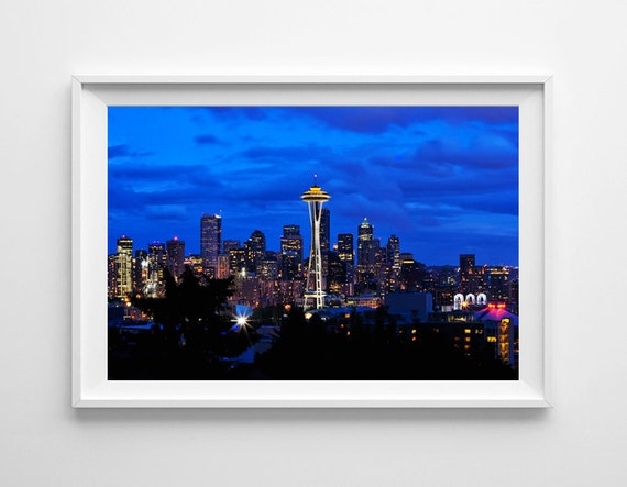 Seattle Skyline From Kerry Park At Night Seattle Art Space Etsy