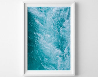 Ocean Art of Blue Icelandic Waves - Travel Photography Vertical Wall Art - Blue Wall Art - Framed Print Available