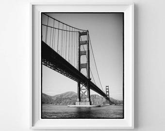 Golden Gate Bridge Vertical Wall Art - San Francisco California Black and White Photography - Small and Large Wall Art Prints Available