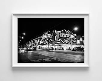 Toronto Art of Honest Ed's and Streetcar at Night - Canadian Black and White Street Photography - Large Wall Art Prints Available