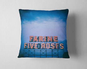 Montreal Blue Throw Pillow Farine Five Roses Sign at Night - Blue Pillow Cover, Blue Pillow, Canadian Decor - 16x16, 18x18, or 20x20 Pillow
