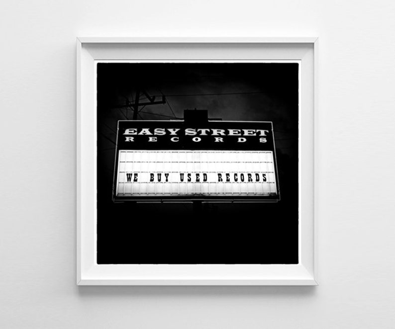 Seattle Art Print  Black and White Easy Street Records Sign  image 0