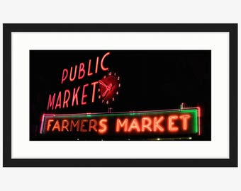 Seattle Pike Place Market Panorama Neon Sign at Night - Red Wall Art, Farmers Market Art - Oversized Art, Large Art Prints Available