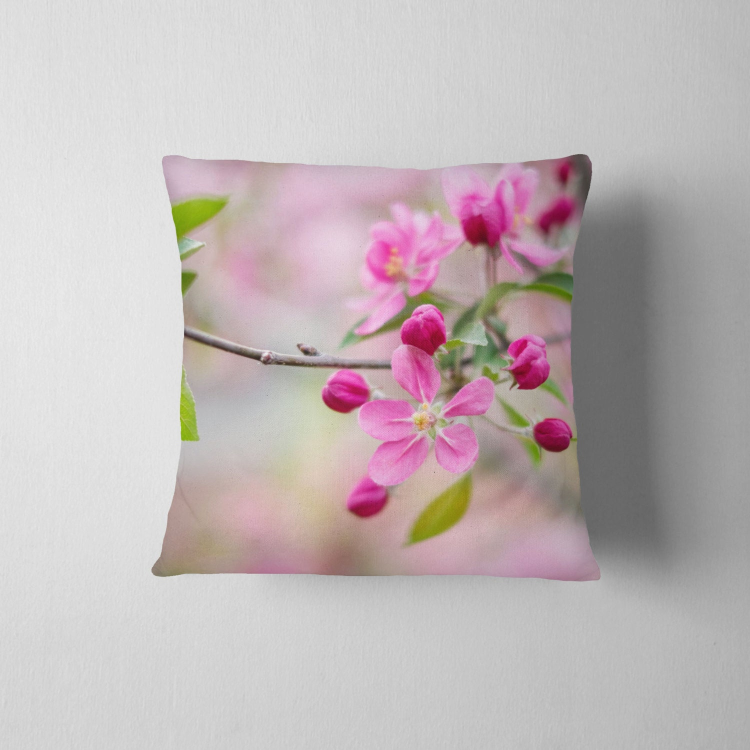 Pink Flower Pillow Nature Decor Floral Pillow Pink Home Etsy