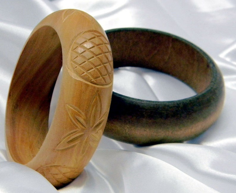 Vintage and Handmade Chunky Wooden Boho Bangles  Blonde Carved Floral Pattern and Plain Dark Stained Wood Wild  or Mild Woman Wear