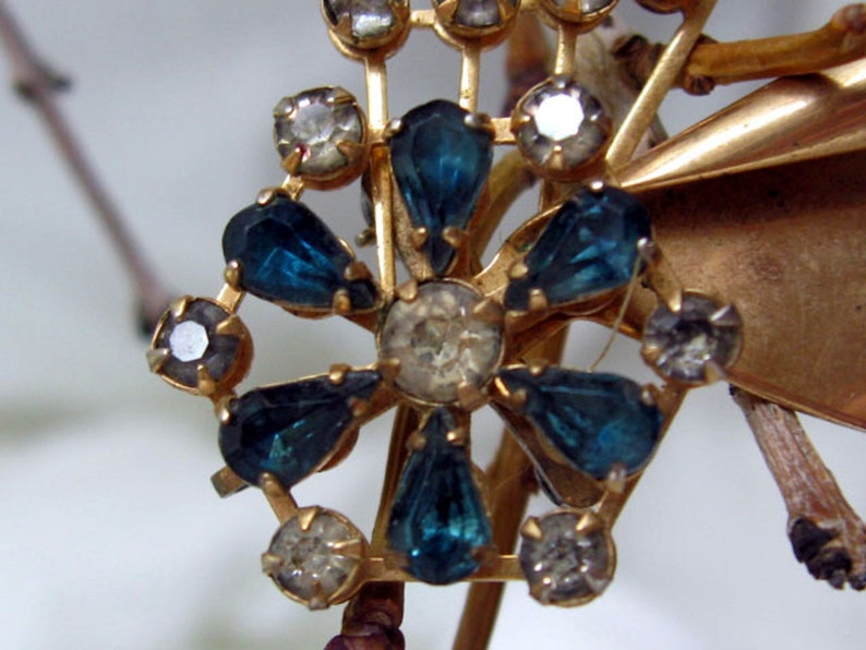 Vintage Coppery Goldtone Turquoise /& Clear Rhinestones Sparkle Pin  Pendant Earrings Bugbee Niles Style Midcentury Magic Your Choice
