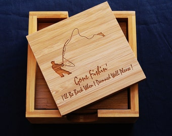 OWN FLY FISHING PHOTO/'S SET OF 4 COASTERS PERSONALISED COASTERS GIFT  NEW