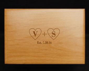 Love is Homemade, Custom, Recipe Box, Personalized, Wood Recipe Box, Engraved Recipe Box, Hearts