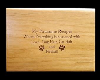 Custom Recipe Box, Personalized Recipe Box, Wood Recipe Box, Engraved Recipe Box, Dog, Cat