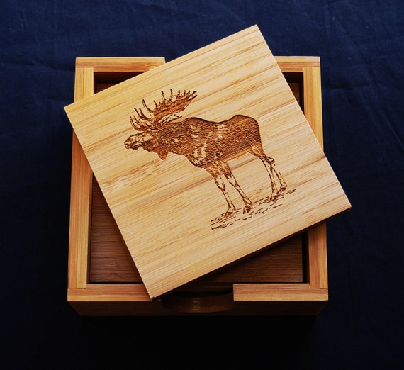 Moose Coaster Drink Coasters Wood Coaster Gifts For Etsy