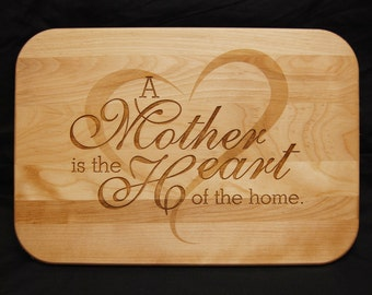 Mother, Mom Home, Heart, Cutting Board, Wood cutting board, Personalized, Mothers Day Gift, Custom Cutting Board