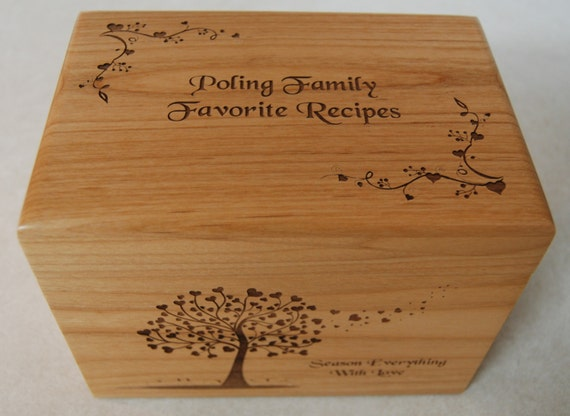 Personalized Recipe Box Season With Love Wedding Gift Bridal Shower Bride And Groom Wood Wooden Recipe Cards Recipe Storage Custom