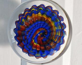 SALE blue, red, yellow, handmade glass doorknob on oil rubbed bronze mount