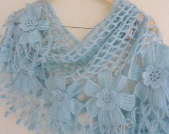 skyblue floral shawl