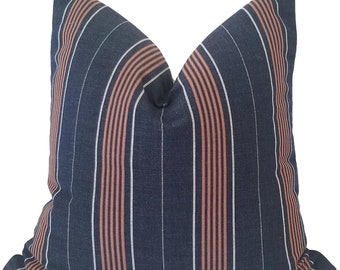 Indoor Outdoor Pillow Cover, Blue Striped Outdoor Pillow, Outdoor Cushions