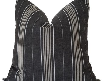 Indoor Outdoor Pillow Cover, Grey Striped Outdoor Pillow, Outdoor Cushions