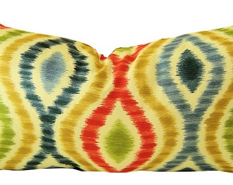 Ikat Pillow - Red Ikat Pillow - Blue Ikat Pillow - Decorative Pillow - Pillow Cover - Cushion - Lumbar Pillow - PILLOW COVER ONLY