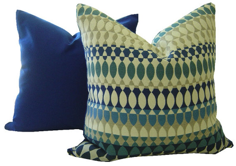 Blue Outdoor Pillow Cover Indoor Outdoor Sunbrella Pillow image 0