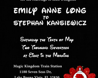 Disney Wedding Invite For Personal Use Only Read Description Fully